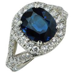 2.66 Carat Sapphire Diamond platinum Ring