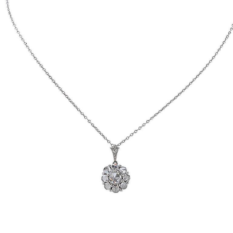 2.25 Carat Rose Cut Diamond Platinum Pendant In As New Condition For Sale In Miami, FL