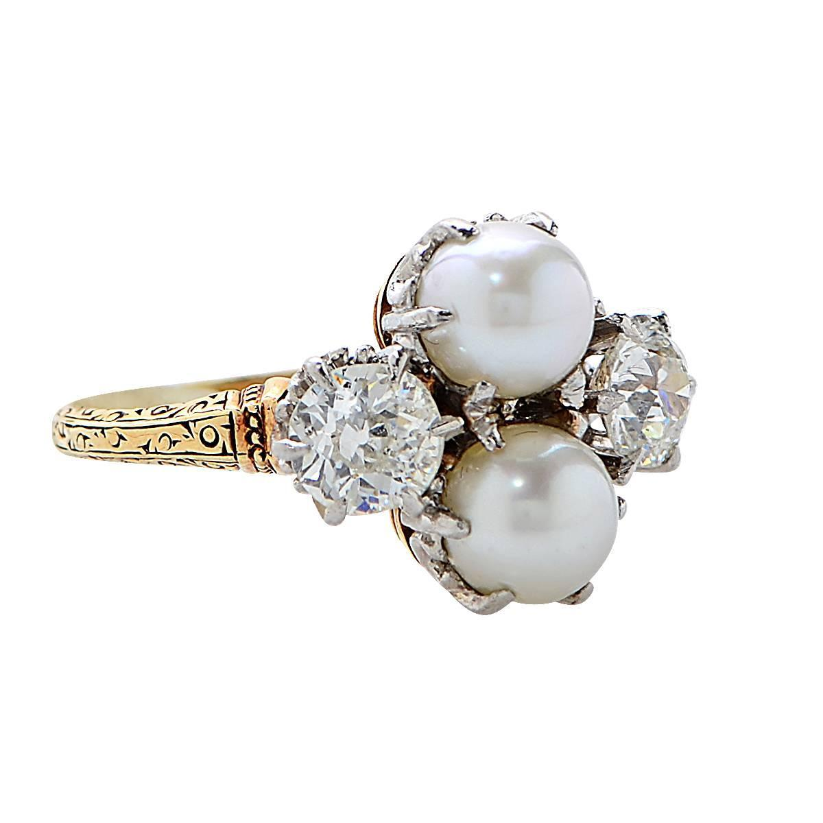1 25 Carat Diamond and Pearl Ring at 1stdibs