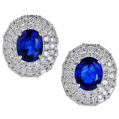 6 Carats Sapphire Diamond gold Earrings