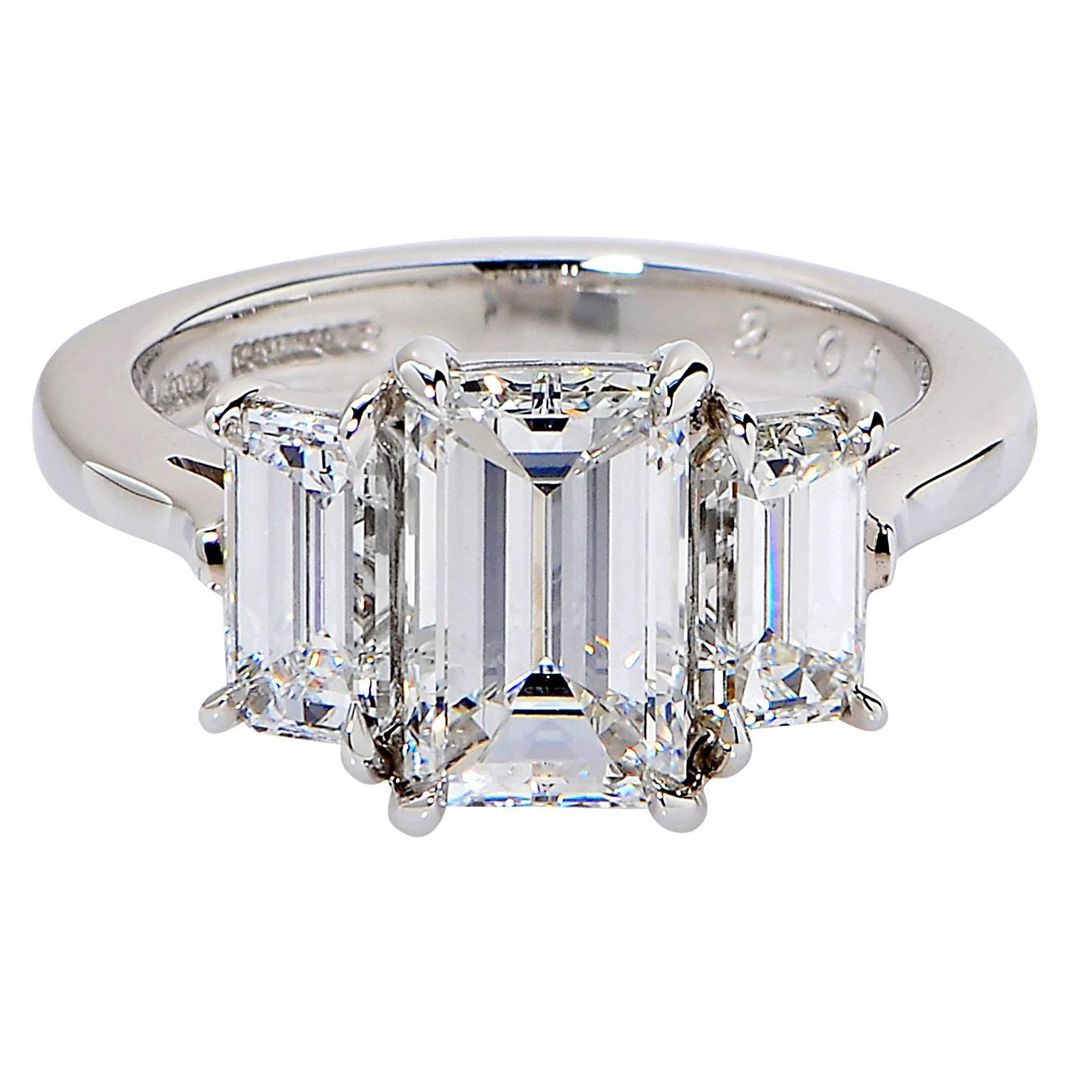 2 01 Carat GIA Cert Emerald Cut Diamond Platinum Engagement Ring at 1stdibs