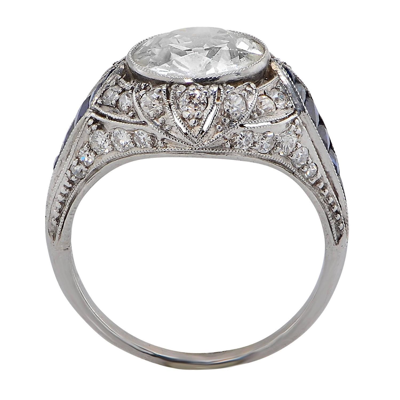deco sapphire platinum engagement ring at 1stdibs
