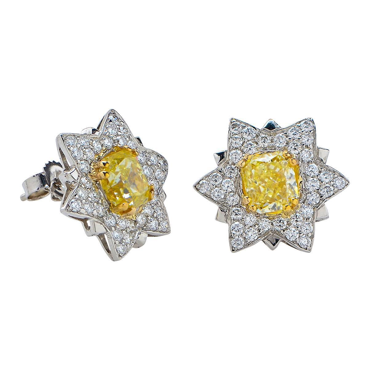 1 carat stud earrings sale 1 98 carat fancy yellow platinum stud earrings for 4042