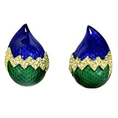 Enamel Gold Clip On Earrings