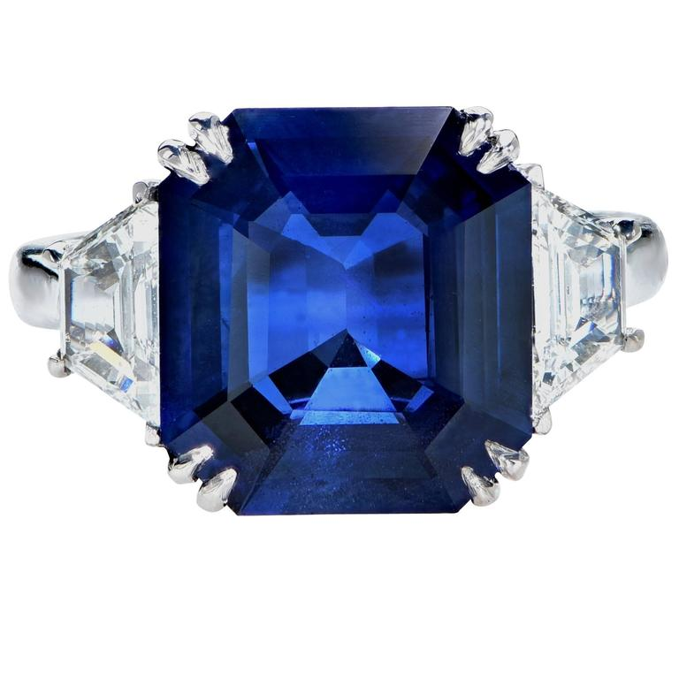 8.24 Carat Natural Deep Blue Step Cut Sapphire Diamond Platinum Ring 2