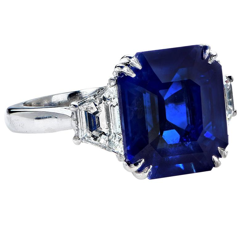 8.24 Carat Natural Deep Blue Step Cut Sapphire Diamond Platinum Ring 3