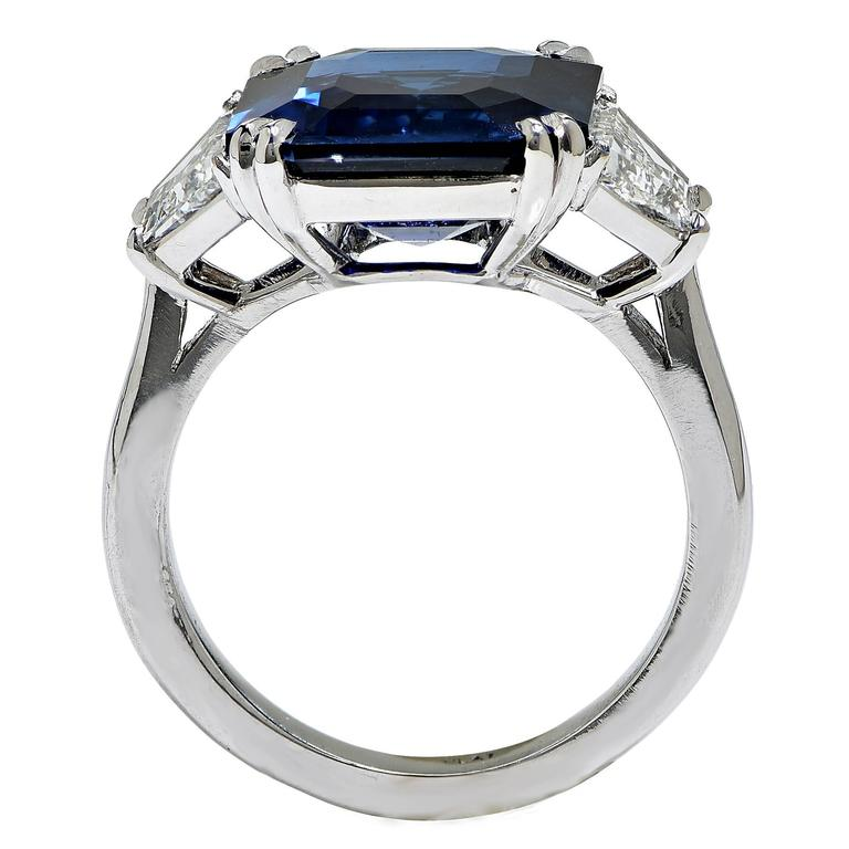 8.24 Carat Natural Deep Blue Step Cut Sapphire Diamond Platinum Ring 4