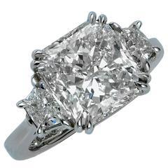 5.06 Carat GIA Graded Radiant Cut Diamond Platinum Ring