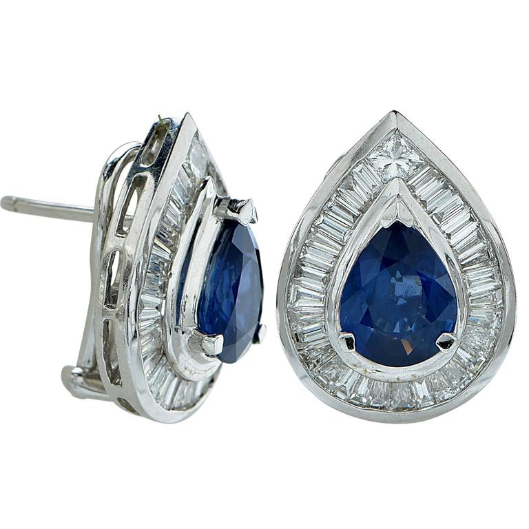Sapphire Diamond Gold Earrings 2