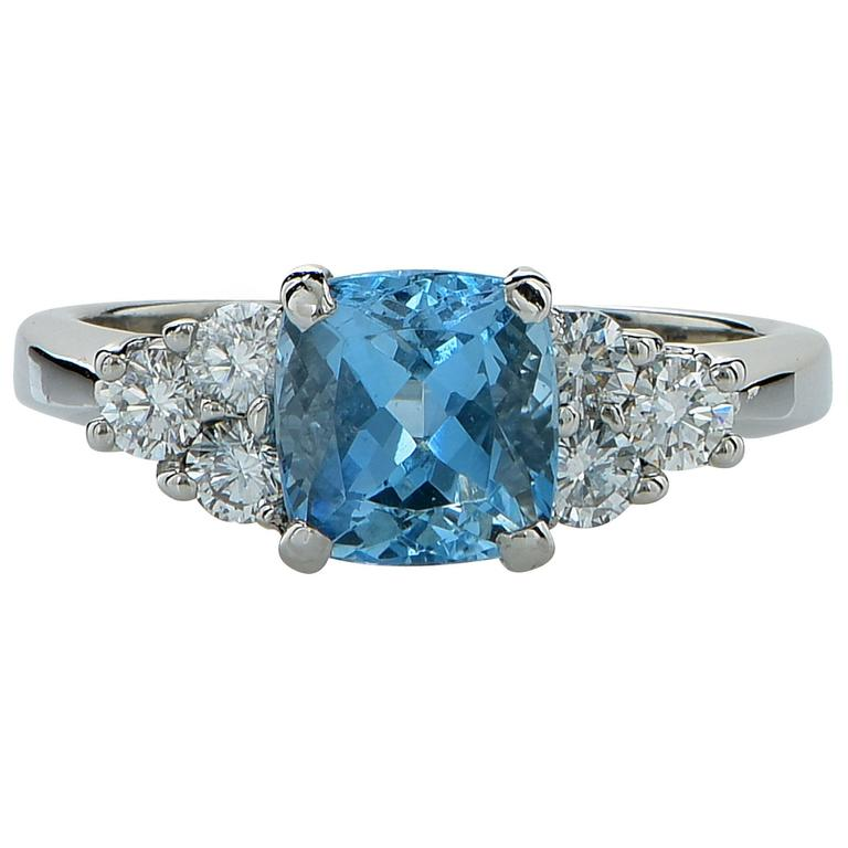aquamarine platinum ring at 1stdibs