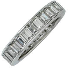 3.85 Carat Baguette Diamond Platinum Eternity Band Ring