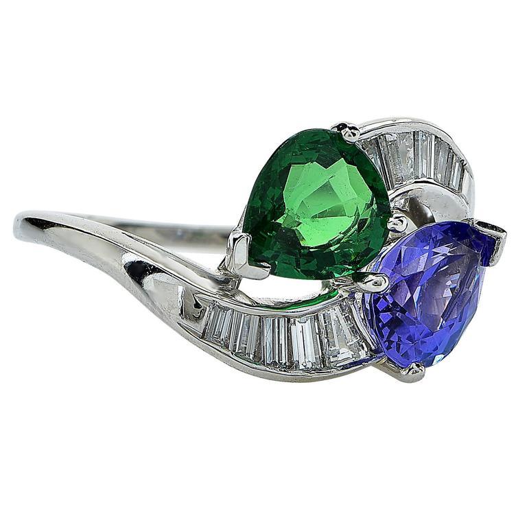 tanzanite tsavorite platinum ring at 1stdibs