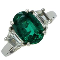 AGL Graded 2.75 Carat Emerald and Diamond Engagement Ring