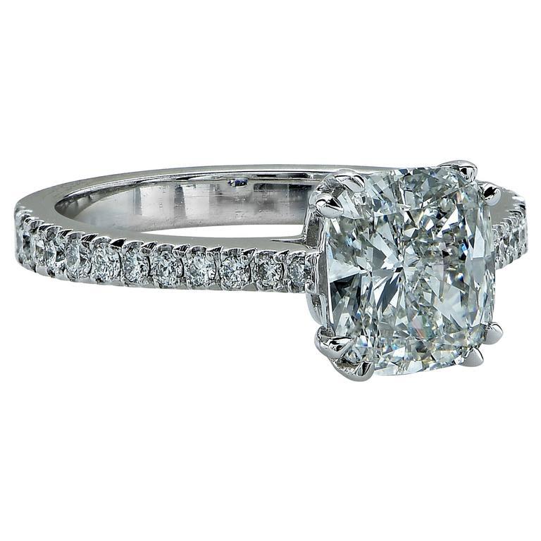 2 03 Carat Cushion Cut Diamond Gold Engagement Ring at 1stdibs