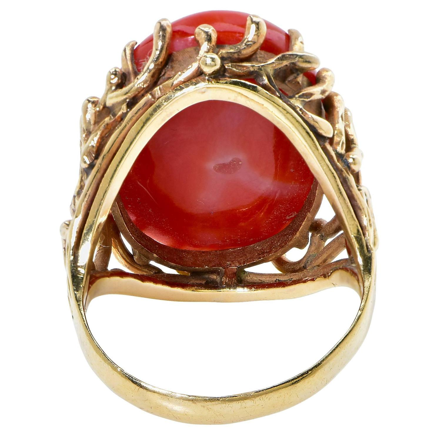 gorgeous coral gold ring at 1stdibs
