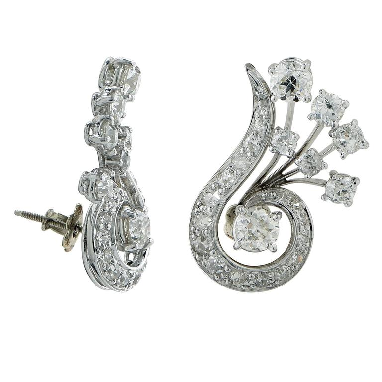 2.60 Carats Diamonds Platinum Earrings 2