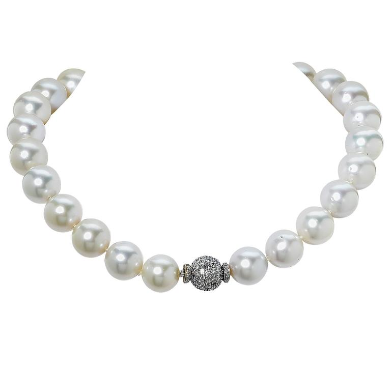 Gorgeous South Sea pearl necklace measuring 17 inches long, containing 25 vibrant white peals with incredible luster. The smallest pearl measures 14mm and the largest pearl 16.2mm. The roundness and quality of the pearls is rated to be AAA. The