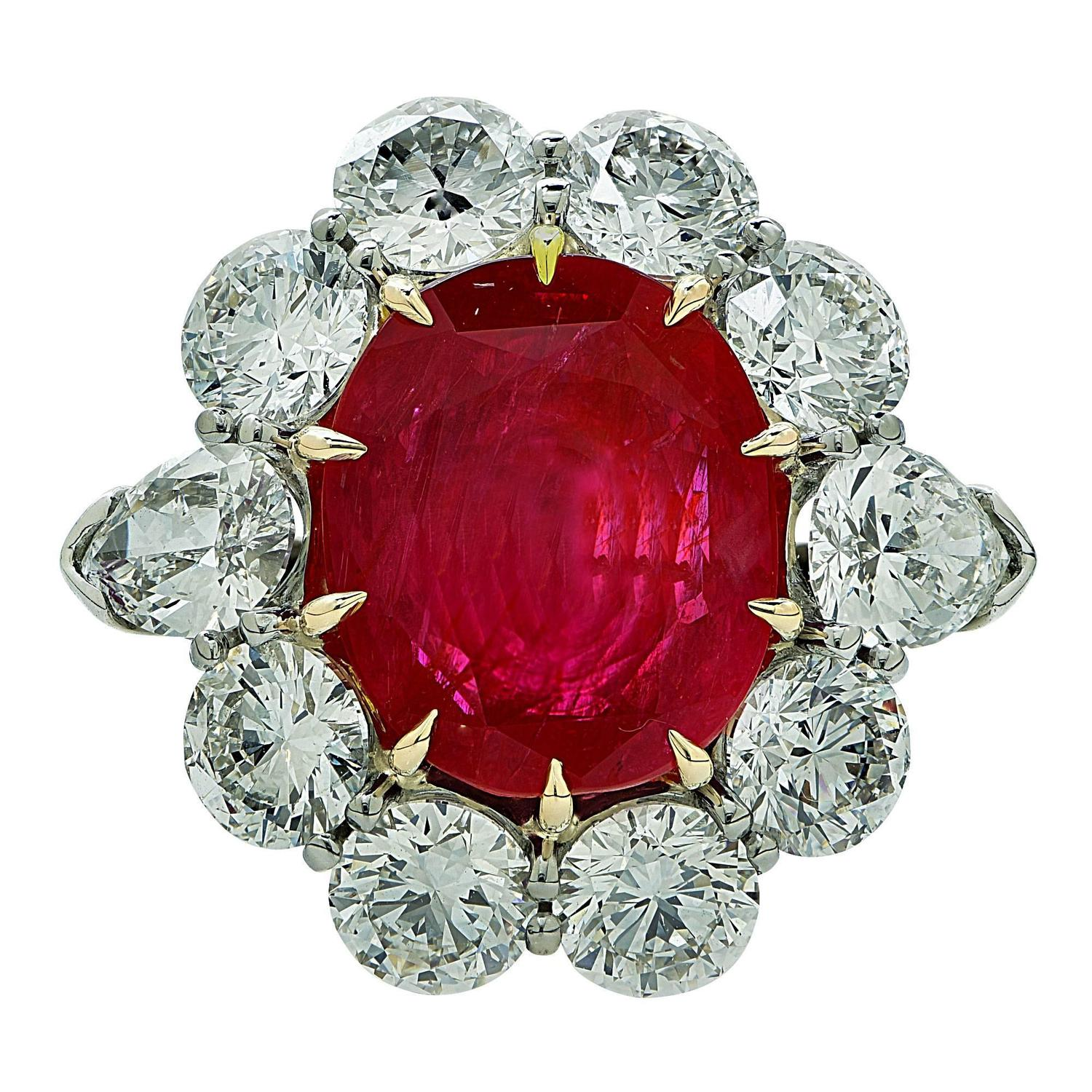 Custom Burma Ruby Ring: Aletto Brothers 8.66 Carats AGL No Heat Burma Ruby Diamond