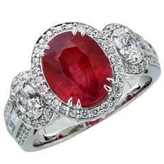 3.50 Carat GIA Cert Ruby Diamond Gold Ring