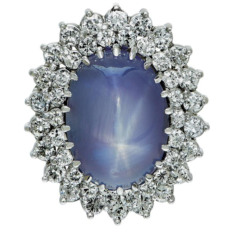 Star Sapphire Diamond Gold Ring 2