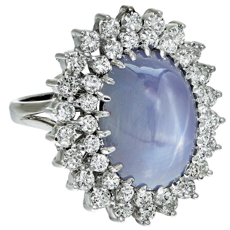 Star Sapphire Diamond Gold Ring 3