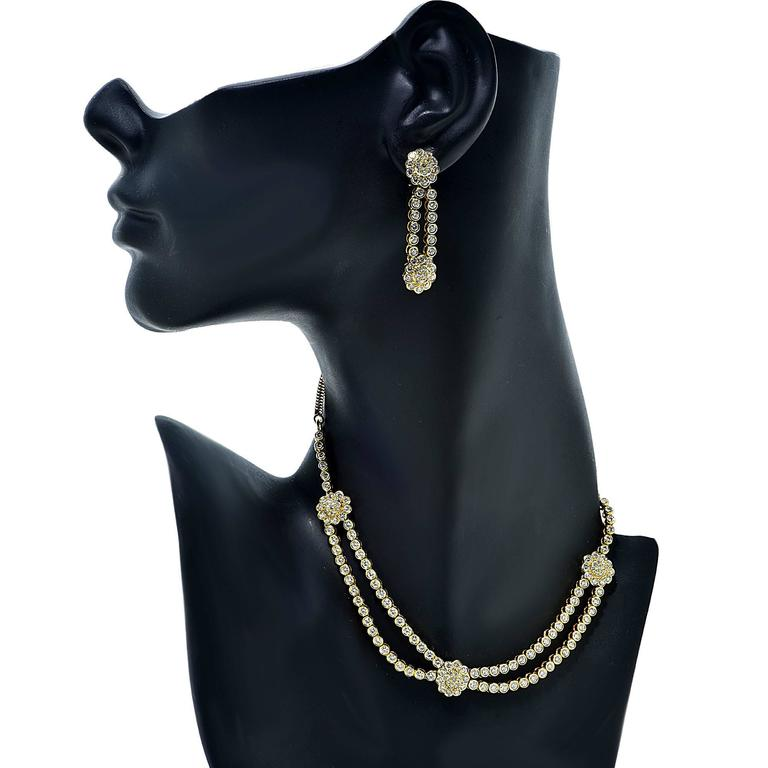 9.60 Carats Diamonds Gold Necklace and Earring Set 6