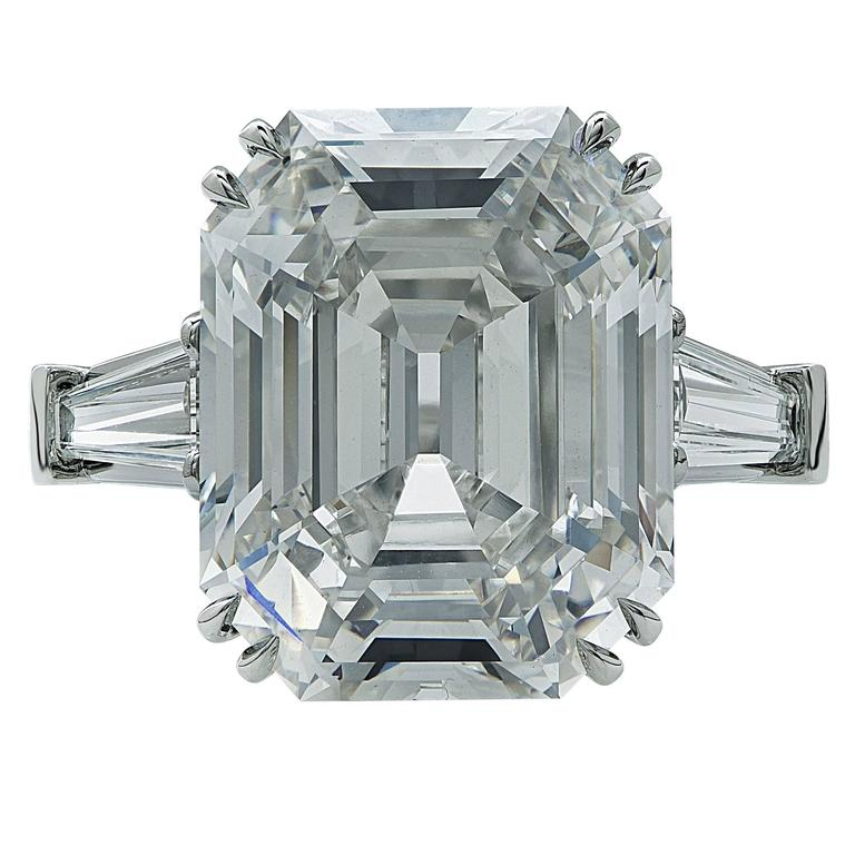GIA Certified 10.21 Carat Emerald Cut Diamond Engagement Ring 2