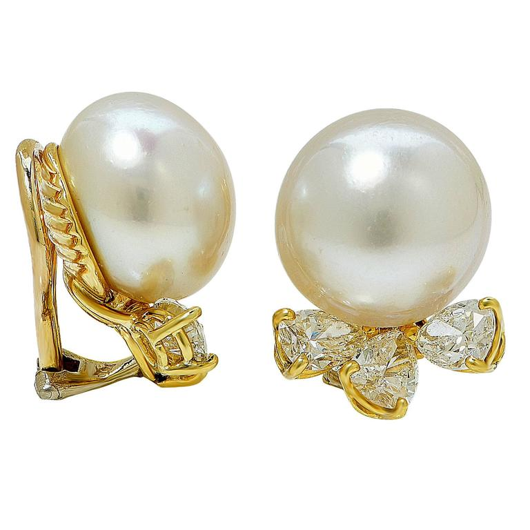 13 6 mm pearl 3 carats diamonds gold earrings for sale at