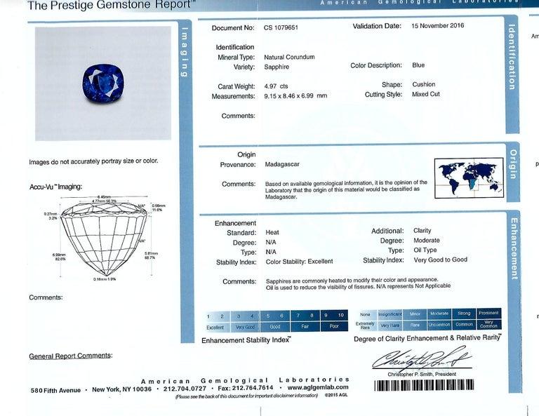 Women's AGL Graded 4.97 Carat Sapphire Diamond Yellow Gold Ring For Sale