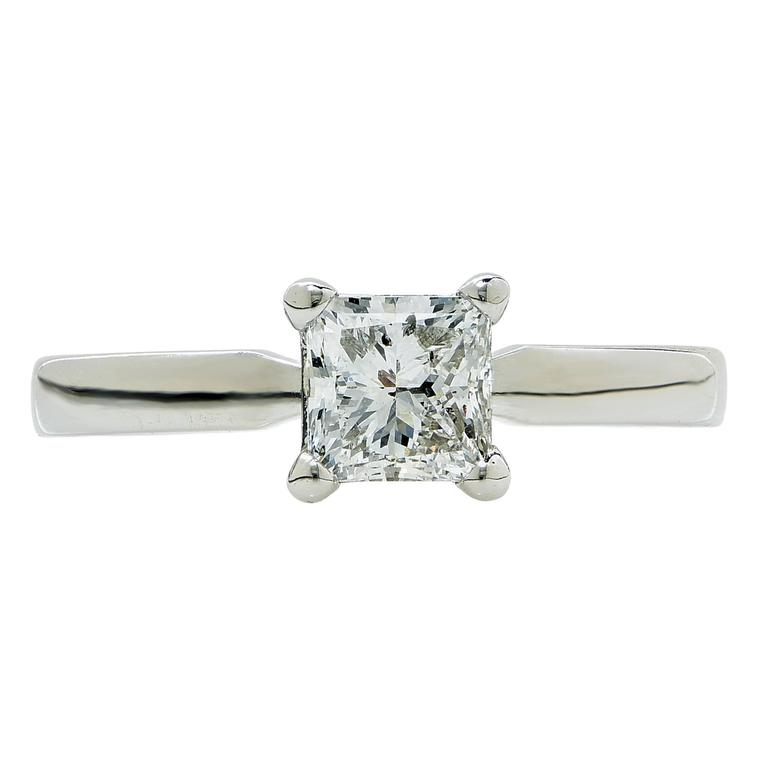 1 Carat GIA F SI2 Princess Cut Solitaire Engagement Ring For Sale at 1stdibs