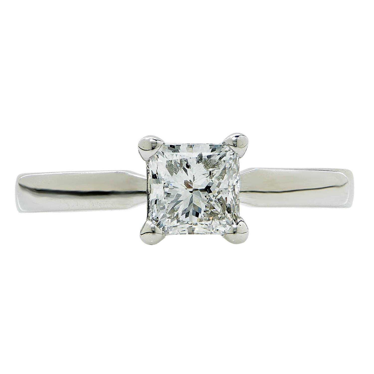 1 carat f si2 princess cut solitaire engagement ring for sale at 1stdibs