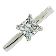 1 Carat GIA F/SI2 Princess Cut Solitaire Engagement Ring