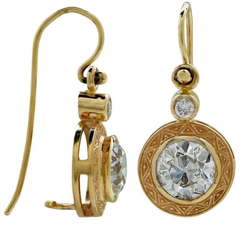 3 Carat European Cut Diamond Gold Earrings In Excellent Condition For Sale In Miami, FL