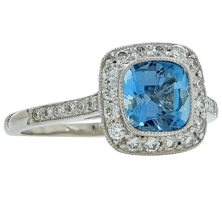 and co aquamarine platinum ring at 1stdibs