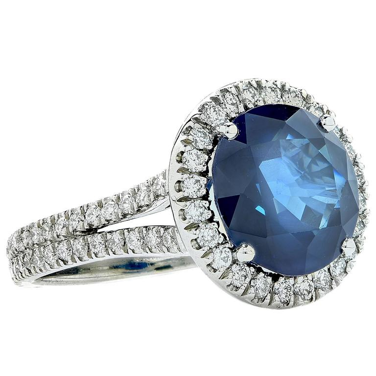 Sapphire  Diamond Platinum Ring 3