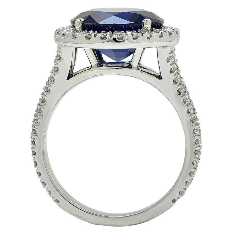 Sapphire  Diamond Platinum Ring 4