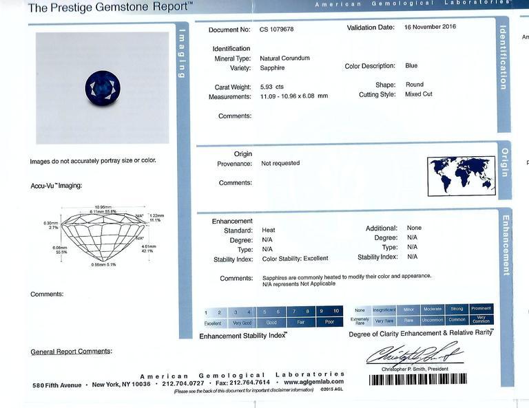 Sapphire  Diamond Platinum Ring 5