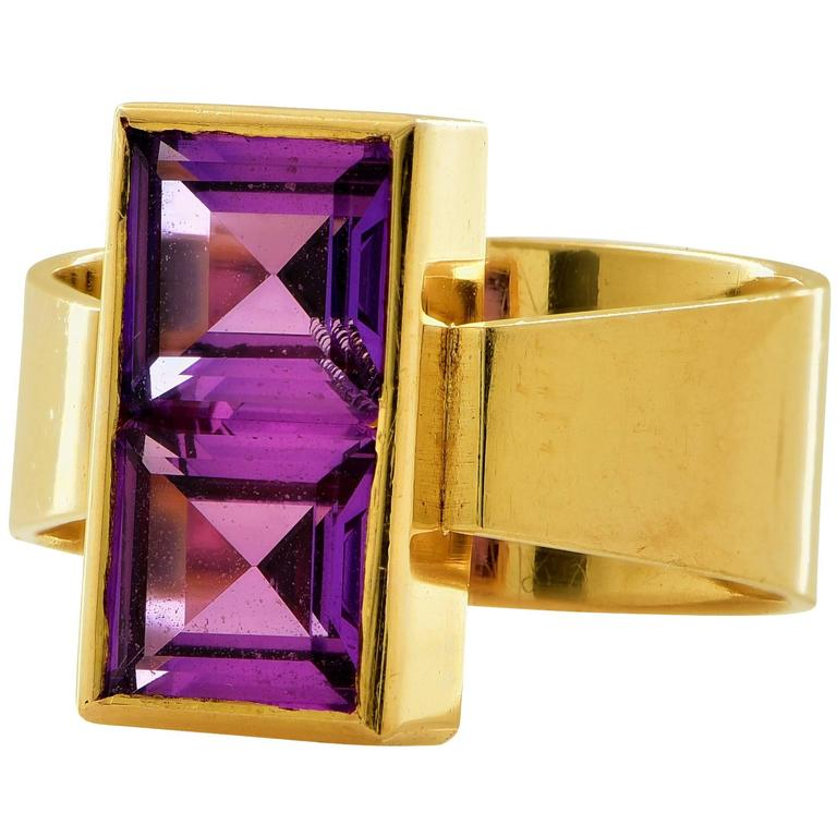 Man made purple sapphire two stone ring at 1stdibs for Man made sapphire jewelry