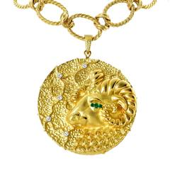 18 Karat Yellow Gold Ram's Head Necklace
