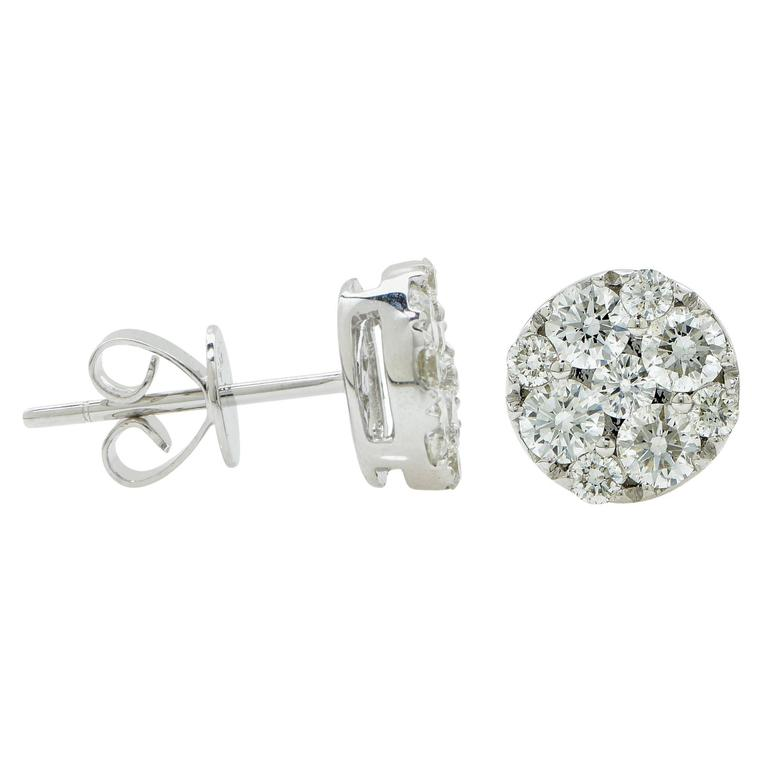 1 Carat Diamond Cluster Earrings 2