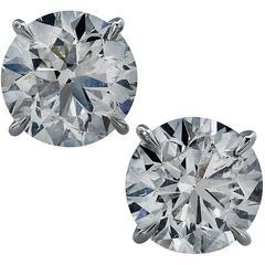 6.98 Carats Diamonds Platinum Solitaire Stud Earrings