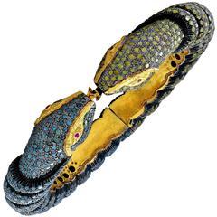 14.71 Carat Snake Bangle Bracelet