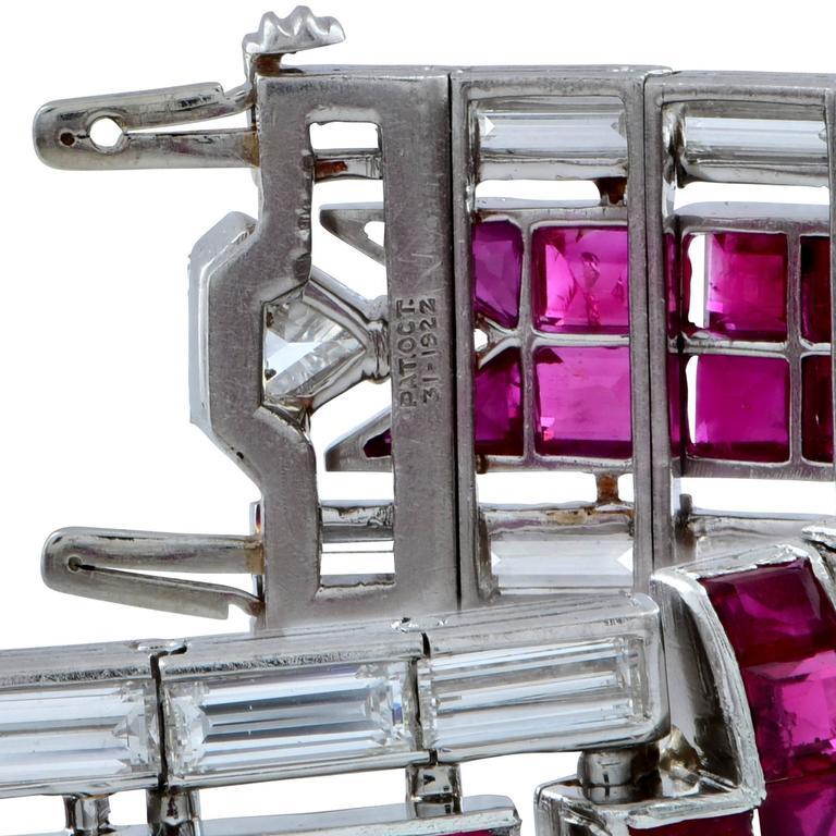 Women's Stunning 45.50 Carat Art Deco Ruby Diamond Platinum Bracelet For Sale