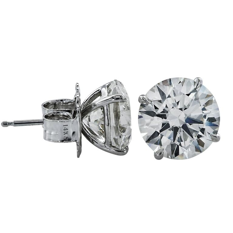 6.92 Carat Diamond Stud Solitaire Earrings 2