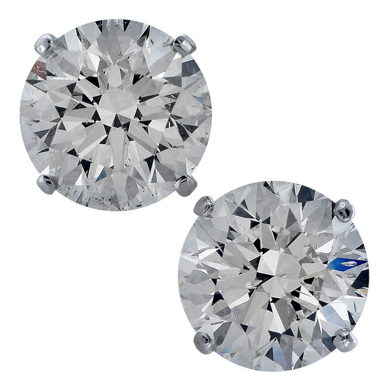 4.02 Carat Diamond Stud Solitaire Earring For Sale