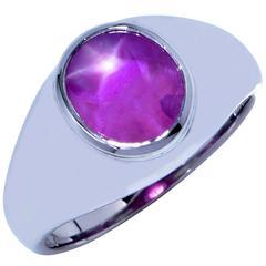 AGL Graded 7.34 Carat Star Ruby Platinum Ring