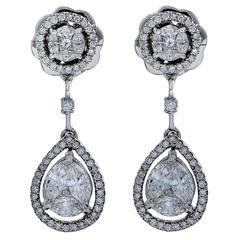 Pear Shaped Cluster Diamond Drop Earrings