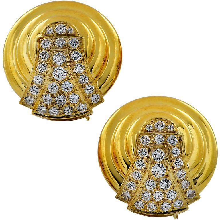 2 Carat Diamonds Yellow Gold Disc Earrings