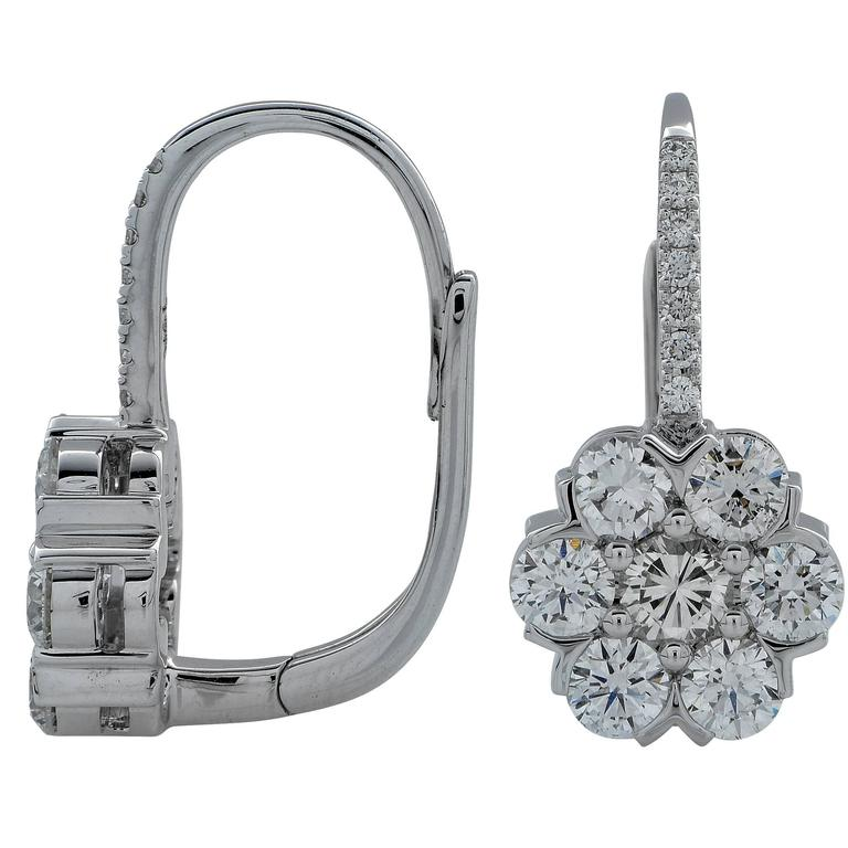 1.95 Carat Diamond White Gold Cluster Earrings 2
