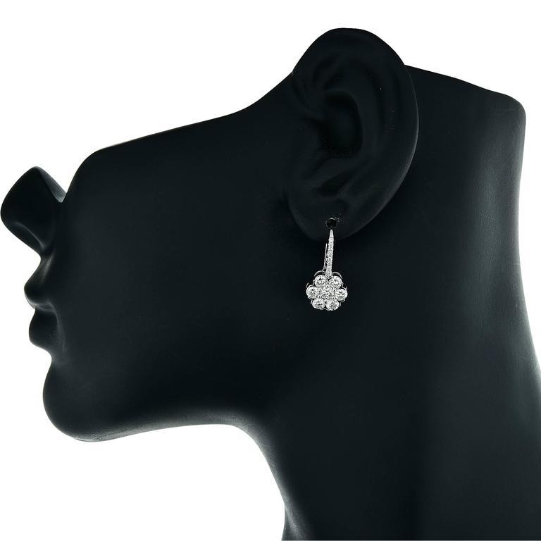 1.95 Carat Diamond White Gold Cluster Earrings 3